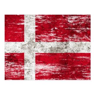 Scuffed and Worn Danish Flag Postcard