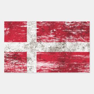 Scuffed and Worn Danish Flag Rectangular Sticker