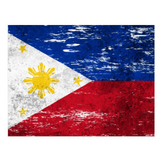 Scuffed and Worn Filipino Flag Postcard