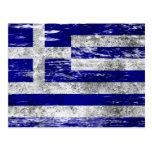 Scuffed and Worn Greek Flag Post Card
