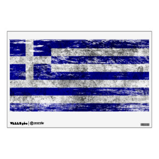 Scuffed and Worn Greek Flag Room Decals