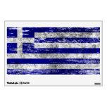Scuffed and Worn Greek Flag Wall Sticker