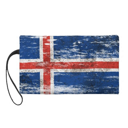 Scuffed and Worn Icelandic Flag Wristlet Clutch