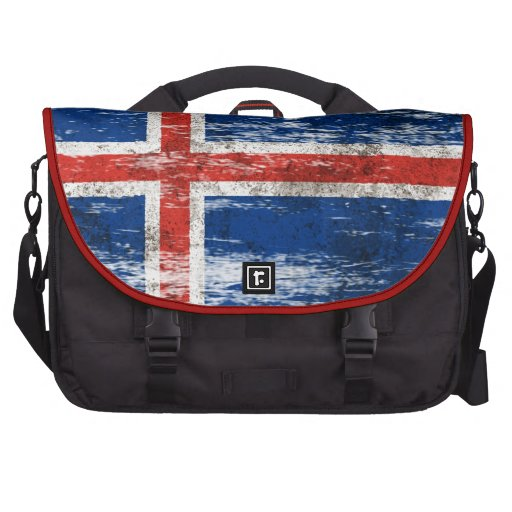 Scuffed and Worn Icelandic Flag Laptop Messenger Bag