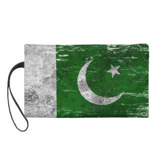 Scuffed and Worn Pakistani Flag Wristlet Clutches
