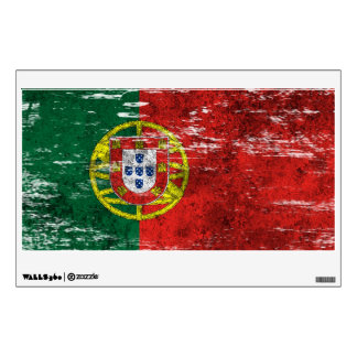 Scuffed and Worn Portuguese Flag Wall Sticker