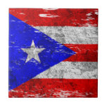 Scuffed and Worn Puerto Rican Flag Ceramic Tile