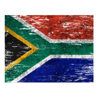 Scuffed and Worn South African Flag Postcard