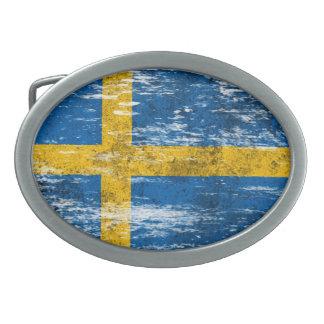 Scuffed and Worn Swedish Flag Belt Buckle