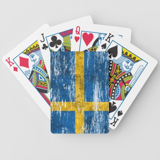 Scuffed and Worn Swedish Flag Bicycle Card Deck