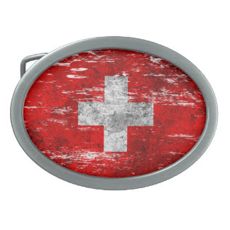 Scuffed and Worn Swiss Flag Oval Belt Buckles