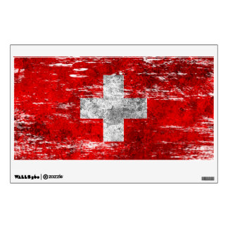 Scuffed and Worn Swiss Flag Wall Sticker