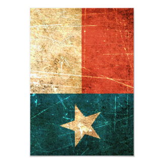 Scuffed and Worn Texas Flag 3.5x5 Paper Invitation Card