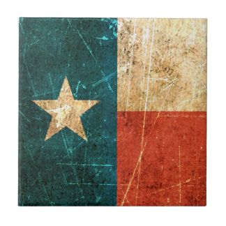 Scuffed and Worn Texas Flag Ceramic Tile
