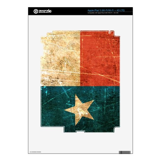 Scuffed and Worn Texas Flag Decals For iPad 3