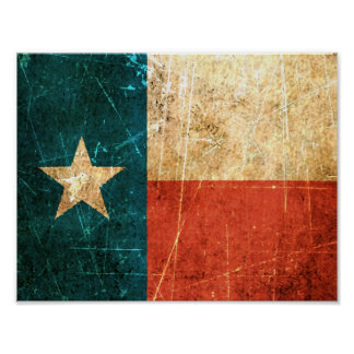 Scuffed and Worn Texas Flag Poster