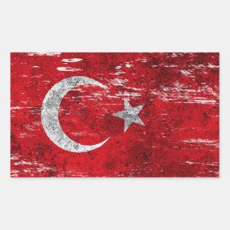 Scuffed and Worn Turkish Flag Rectangular Sticker