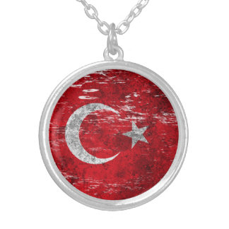 Scuffed and Worn Turkish Flag Silver Plated Necklace