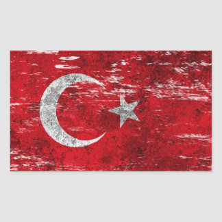 Scuffed and Worn Turkish Flag Rectangle Sticker