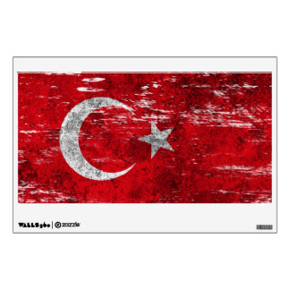 Scuffed and Worn Turkish Flag Wall Sticker