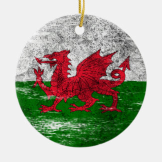 Scuffed and Worn Welsh Flag Double-Sided Ceramic Round Christmas Ornament