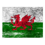 Scuffed and Worn Welsh Flag Postcard