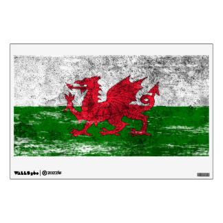 Scuffed and Worn Welsh Flag Wall Sticker