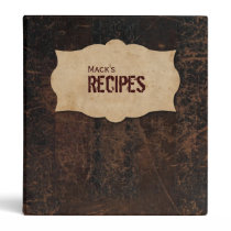 Scuffed Leather Look Personalized Recipe Binder
