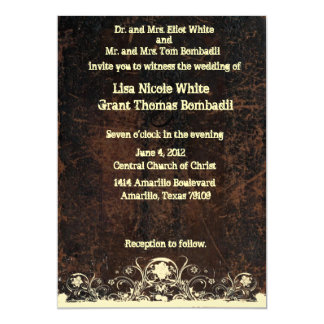 Scuffed Leather Look, Shabby Lace Wedding 5x7 Paper Invitation Card