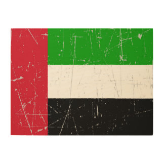 Scuffed Scratched United Arab Emirates Flag Wood Wall Art