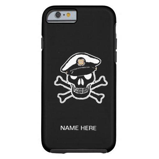 Scull alistado y bandera pirata del guardacostas funda de iPhone 6 tough