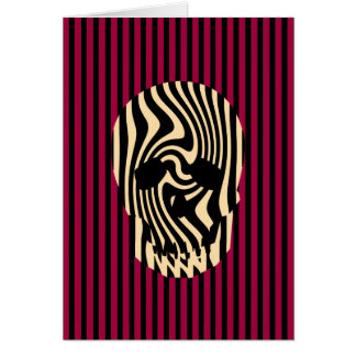 Scull and Stripes, Op Art Greeting Cards