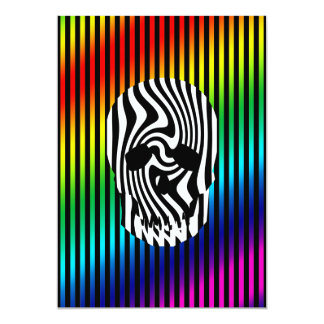 """Scull and Stripes, Op Art 5"""" X 7"""" Invitation Card"""