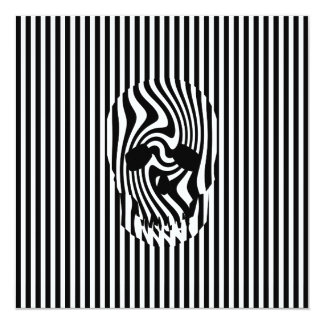 """Scull and Stripes, Op Art 5.25"""" Square Invitation Card"""