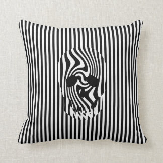 Scull and Stripes, Op Art Throw Pillow