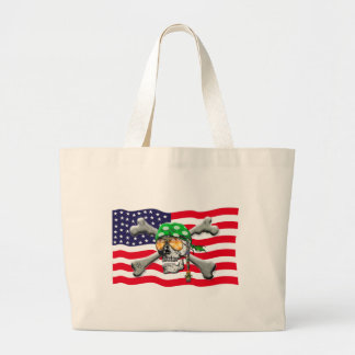 scull cross bones USA American Pirate Bag