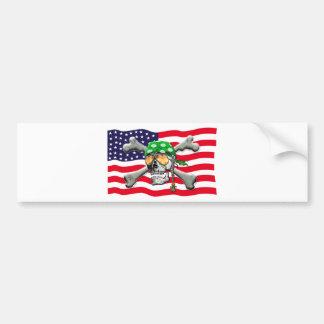 scull cross bones USA American Pirate Bumper Sticker