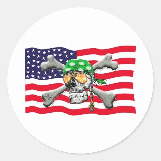 scull cross bones USA American Pirate Classic Round Sticker