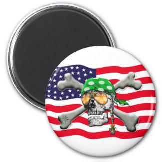 scull cross bones USA American Pirate Fridge Magnets