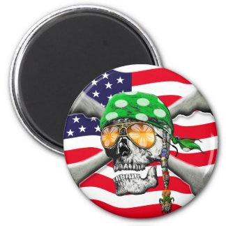 scull cross bones USA American Pirate Magnets