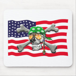 scull cross bones USA American Pirate Mouse Pad