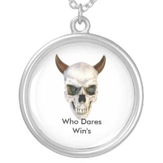 Scull Who Dares Win's Round Pendant Necklace