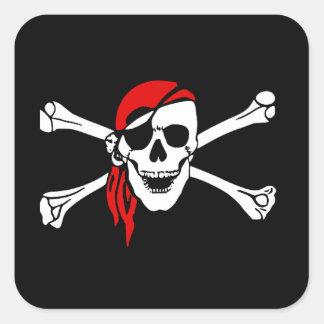 Scull y bandera pirata pegatina cuadrada