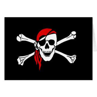 Scull y bandera pirata tarjeta de felicitación