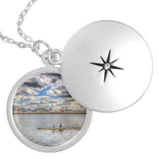 Sculling at London City Airport Locket Necklace