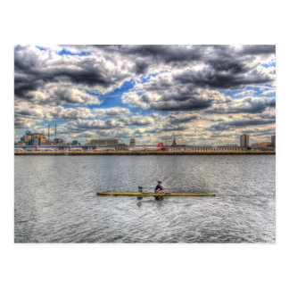 Sculling at London City Airport Postcard
