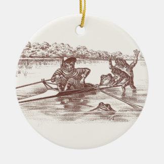 Sculling Frogs Ceramic Ornament