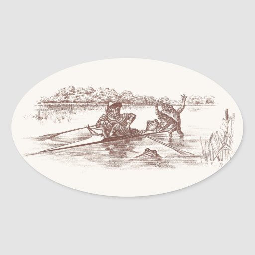 Sculling Frogs Oval Sticker