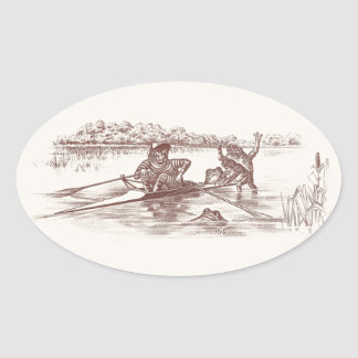 Sculling Frogs Oval Sticker