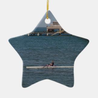 Sculling On The Sea Ceramic Ornament